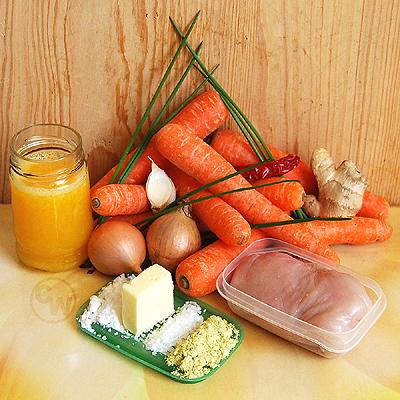 Zutaten für Möhren-Hähnchen-Eintopf