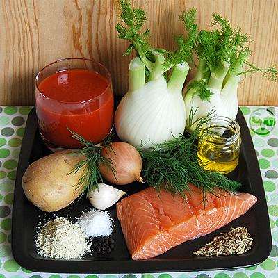 Zutaten für Fenchelsuppe mit Lachs