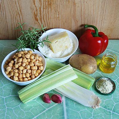 Zutaten für Kichererbsen-Porree-Suppe