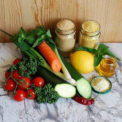 Zutaten für Hirse-Couscous-Salat