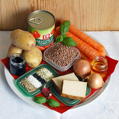 Zutaten für Linseneintopf mit Räuchertofu