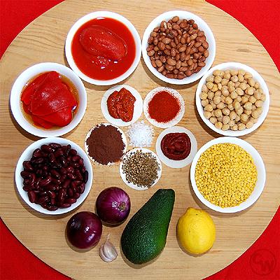 Zutaten für Chili mit Avocadocreme