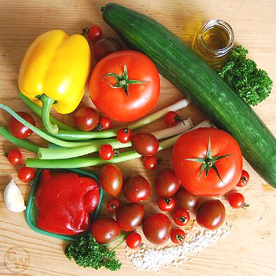 Zutaten für Gemüse-Gazpacho