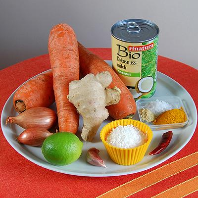 Zutaten für Karotten-Kokos-Suppe